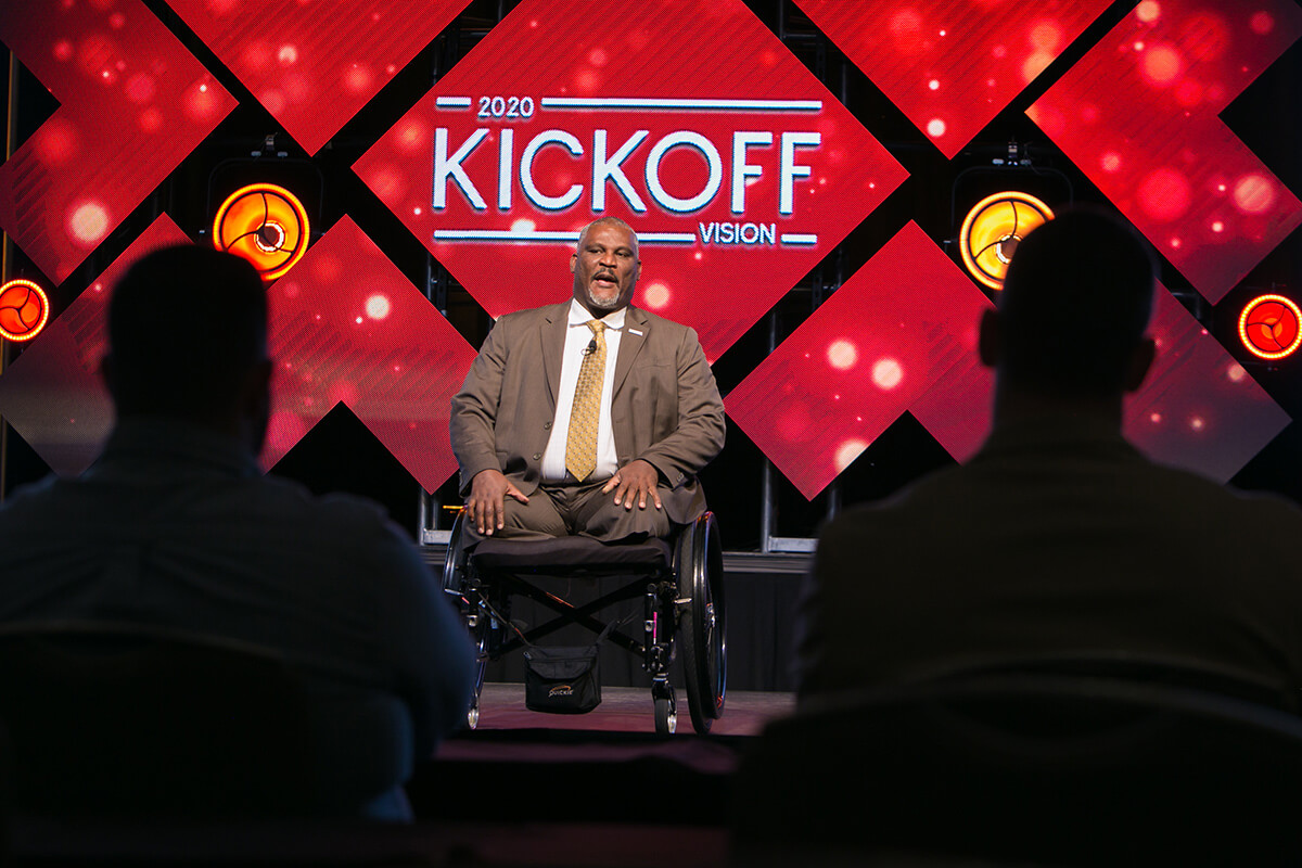 Gregory Dimitri Gadson, an actor, motivational speaker, and retired Colonel in the United States Army, gives a inspirational speech on pride, poise and teamwork to the attendees of the Pivot Technology Annual Kick-off Summit.