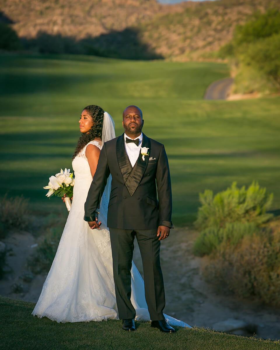 Wedding portraits at sunset.