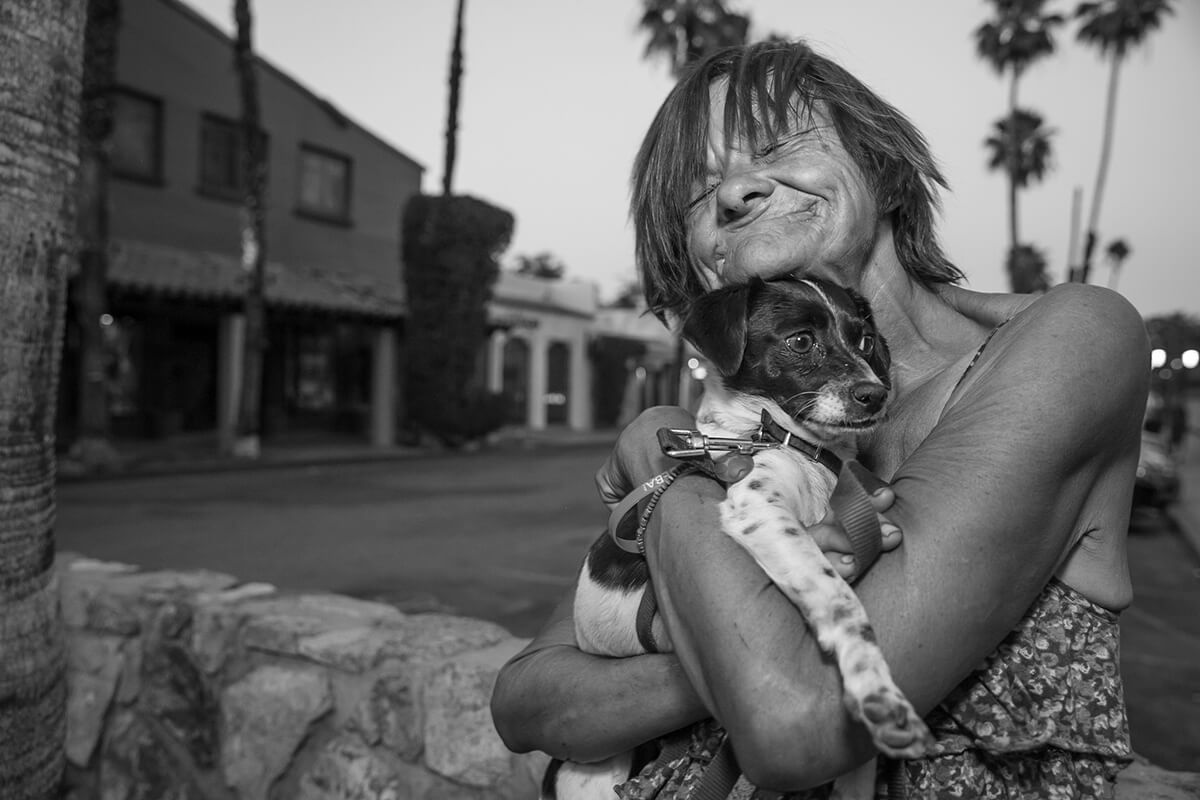 Street photography: June and her dog Peanut, Palm Springs, California.
