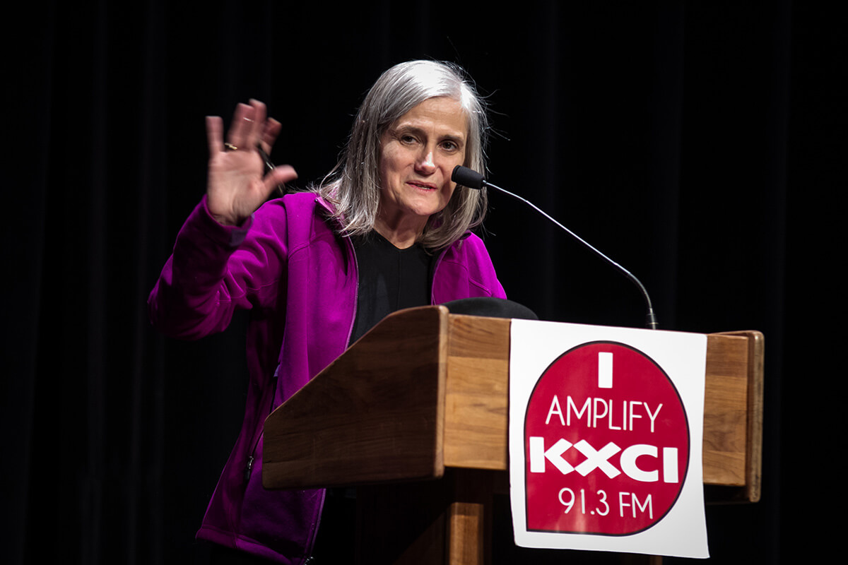 Amy Goodman, Democracy Now, gives a presentation during one of her book tours to a Tucson audience, hosted by the local public radio station, KXCI.