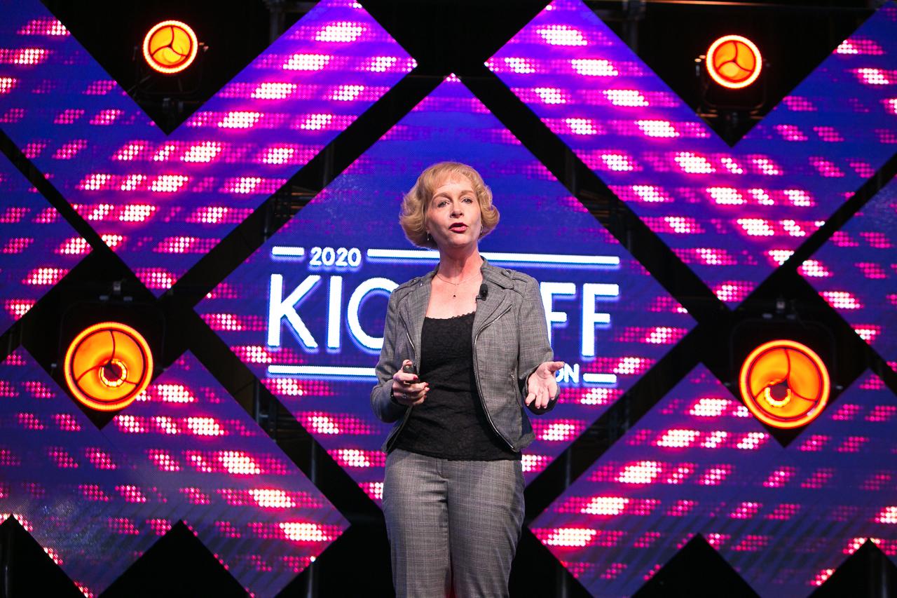 Kate Swanborg, SVP of Dreamworks gives an inspirational presentation during Pivot Technology Solutions Kick-off 2020, Starr Pass Resort, Tucson, AZ.