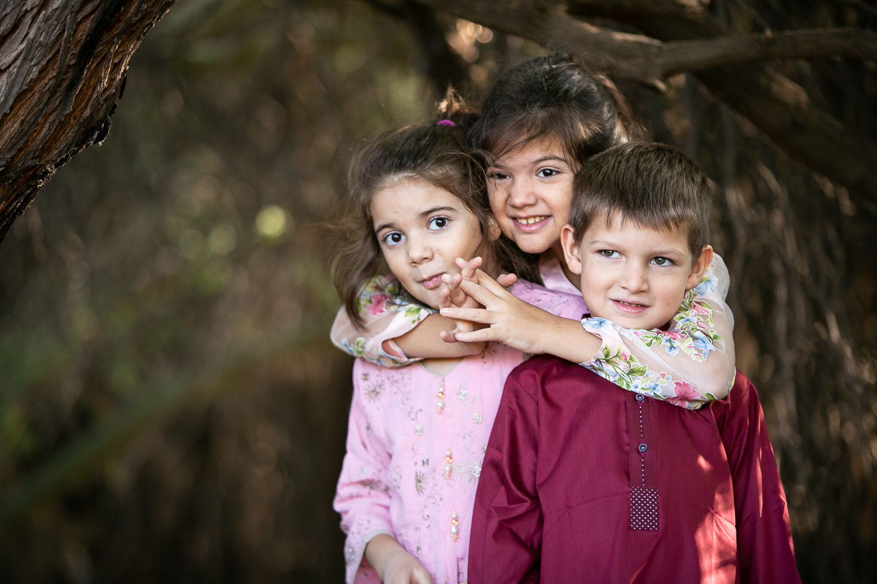 On location family photo session at a wetland preserve.
